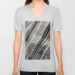 Abstract Marble - Black & Cream Unisex V-Neck