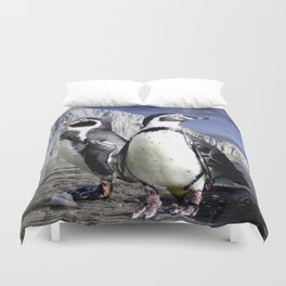 Penguins and Glacier Duvet Cover