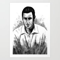 snl Art Prints featuring DARK COMEDIANS: Adam Sandler by Zombie Rust