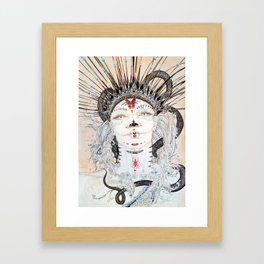 Day of the Dead Portrait Sugar skull with Moth and insect Framed Art Print