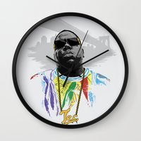 notorious big Wall Clocks featuring Notorious by Tecnificent