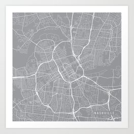 Nashville Map, Tennessee USA - Pewter Art Print