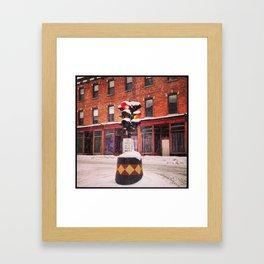 Snowy Dummy Light - Beacon NY Framed Art Print