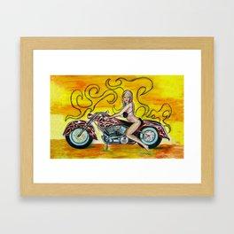 Girl on a motorcycle Framed Art Print