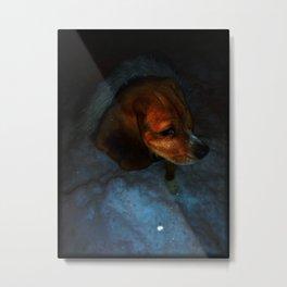 A Beagles Winter Metal Print