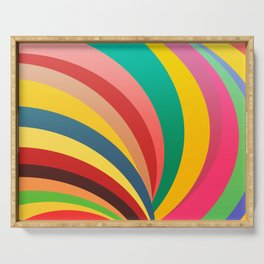 Colorful stripes, rainbow print Serving Tray