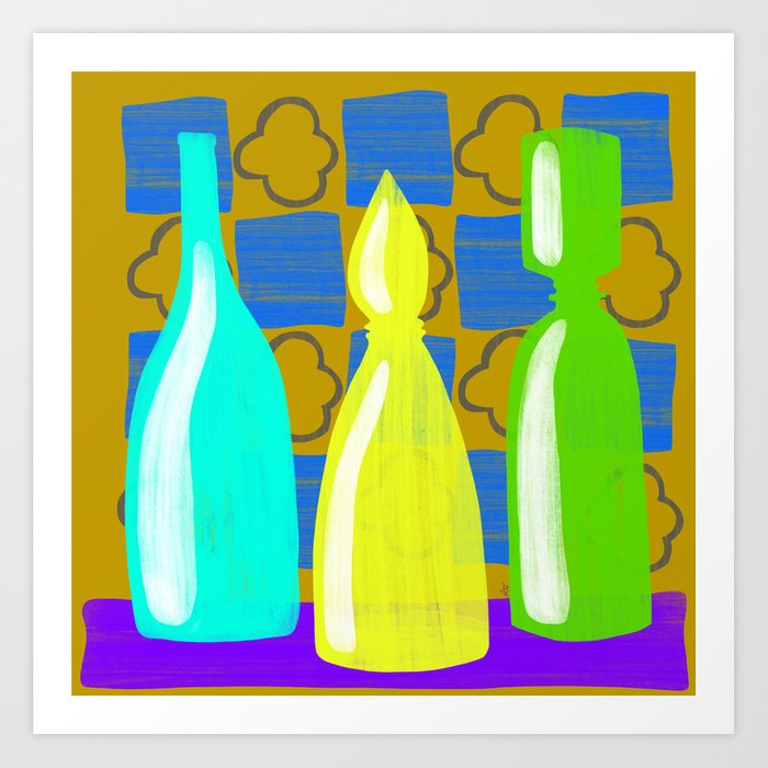 Moroccan Bottles with mustard wall Art Print by rc_arty   Society6