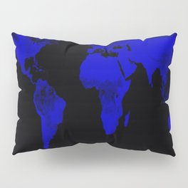 worlD Map Blue & Black Pillow Sham