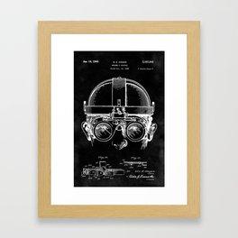 Welding Goggles Blueprint Framed Art Print