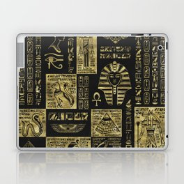 Egyptian  hieroglyphs and symbols gold on black leather Laptop & iPad Skin