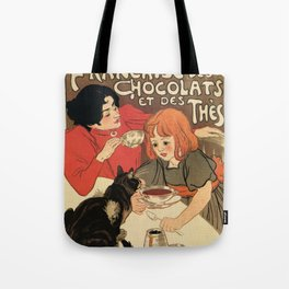 Vintage French tea and hot cocoa advertising Tote Bag