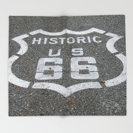 Route 66 sign on the road Throw Blanket