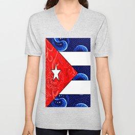 Vintage Cuban Flag Unisex V-Neck