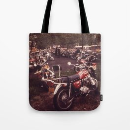 Parked Motorcycles Vintage Photograph Tote Bag