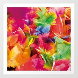 Fluo Feathers Art Print