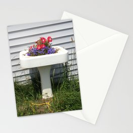Pedestal Sink with Petunias Stationery Cards