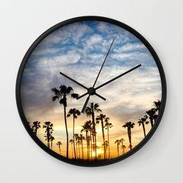 Palm Tree Love (blue and orange) Wall Clock