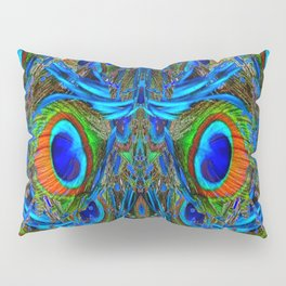 ARTY FEATHERY BLUE PEACOCK ABSTRACTED  FEATHERS ART Pillow Sham