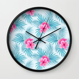Pink Hibiscus on palms Wall Clock