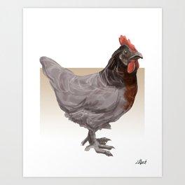 Blue Sussex Breed Chicken One Art Print