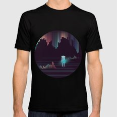 the adventure continues ! MEDIUM Mens Fitted Tee Black