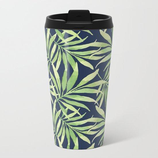 Tropical Branches on Dark Pattern 10 Metal Travel Mug