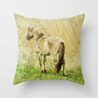 pony Throw Pillows featuring pony by URS|foto+art
