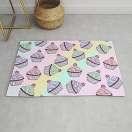 Cute Colorful Rainbow Foodie Cherry Cupcakes Rug