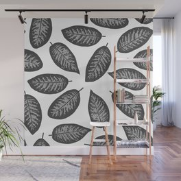 Dieffenbachia gray tropical leaf pattern on white background Wall Mural