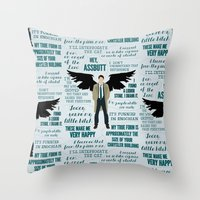 castiel Throw Pillows featuring Castiel by Dorothy Leigh