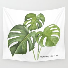 Monstera deliciosa 3 Leaves Wall Tapestry