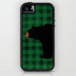 Black Bear - Green Plaid iPhone Case