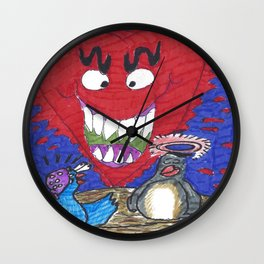 The Valentine Monster Meets The Love Birds Wall Clock