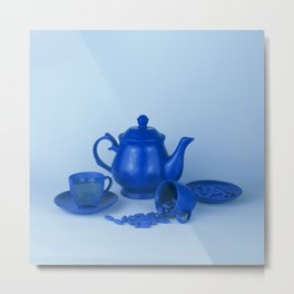 Blue tea party madness - still life Metal Print
