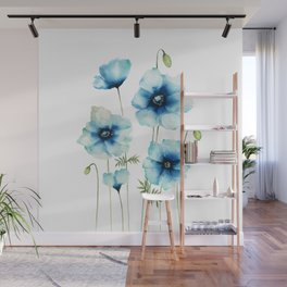 Blue Poppies | Flowers | Watercolour Painting Wall Mural