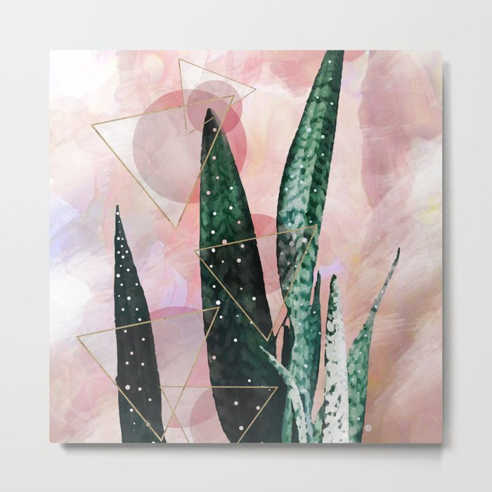 Plant circles & triangles Metal Print