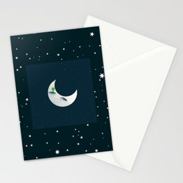Little Green Man on Moon and Stars Stationery Cards