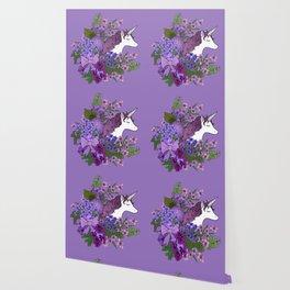 Unicorn in a Purple Garden Wallpaper