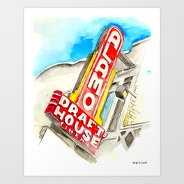 Alamo Drafthouse watercolor Art Print