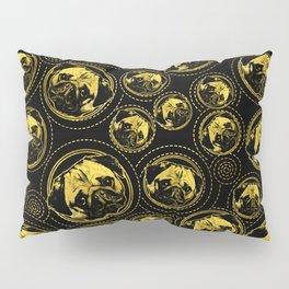 Pug Puppy Pattern gold and black Pillow Sham