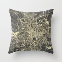 minneapolis Throw Pillows featuring Minneapolis Map by Map Map Maps