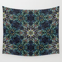 snowflake Wall Tapestries featuring snowflake greeting by Alexandr-Az