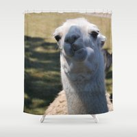 llama Shower Curtains featuring Llama by Sarah Shanely Photography