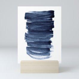 Just Indigo 3   Minimalist Watercolor Abstract Mini Art Print
