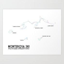 Monterosa Ski, Aosta Valley, Italy - NA Edition (Labeled) - Minimalist Trail Art Art Print