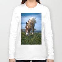 pony Long Sleeve T-shirts featuring Shetland pony by Paul J Davis Photography