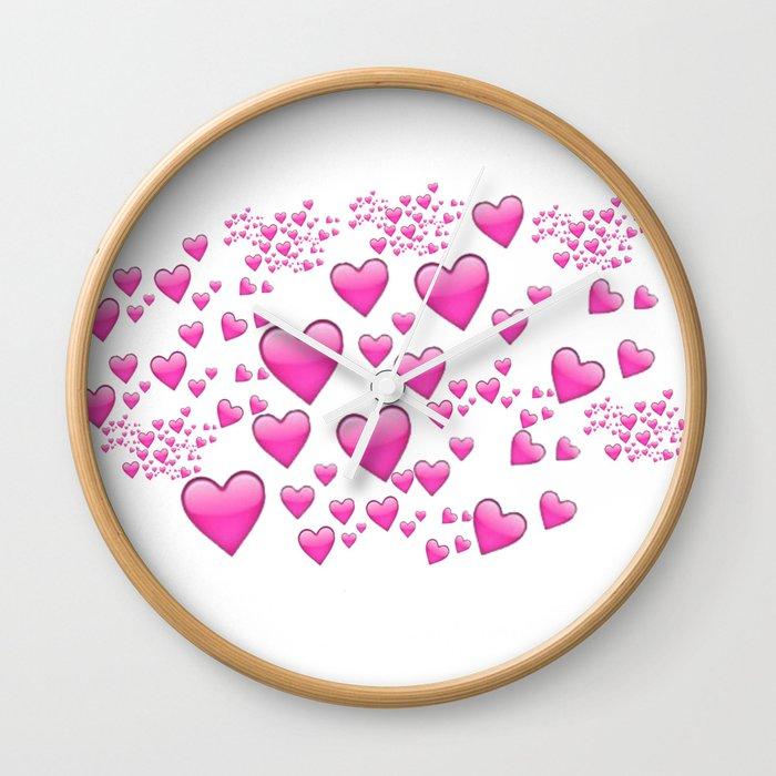 Pink Heart Emoji Collage Wall Clock By Larryniamlilo Society6
