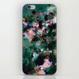 Contemporary Abstract Wall Art in Green / Teal Color iPhone Skin