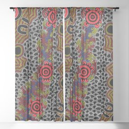 Gathering - Authentic Aboriginal Art Sheer Curtain