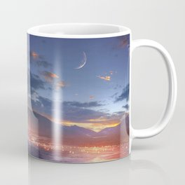 Fascinating Wild Fairytale Horses Running Across Mystic Fire River Dreamy Sunset UHD Coffee Mug